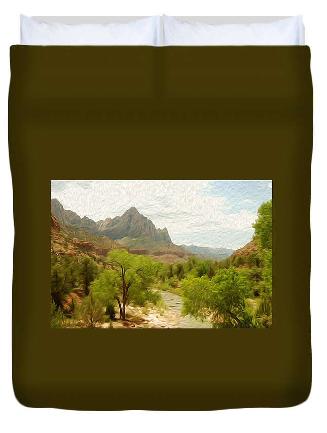 Virgin River Duvet Cover featuring the photograph Virgin River Through Zion National Park 2 by Tracy Winter
