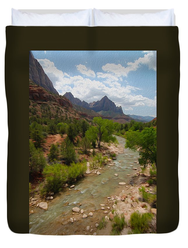Virgin River Duvet Cover featuring the photograph Virgin River Through Zion National Park by Tracy Winter