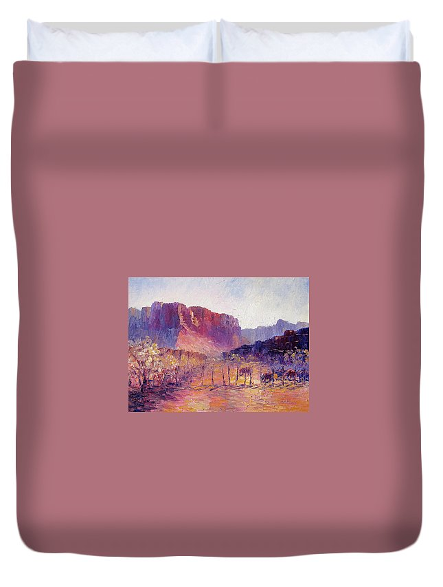 Virgin Valley Duvet Cover featuring the painting Virgin Valley View by Terry Chacon