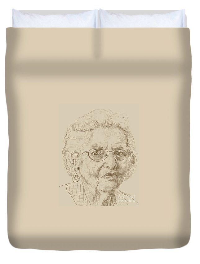 Memory Care Duvet Cover featuring the drawing Virginia by PainterArtist FIN