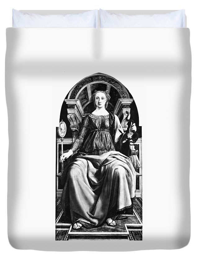 1470 Duvet Cover featuring the painting Virtues Prudence C1470 by Granger