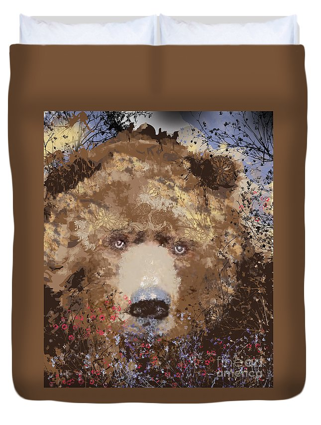 Brown Bear Duvet Cover featuring the mixed media Visionary Bear by Kim Prowse