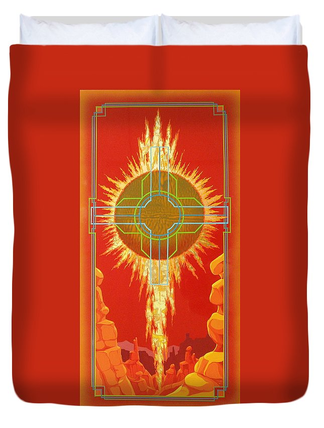 Southwest Paintings Duvet Cover featuring the painting Visitation by Alan Johnson