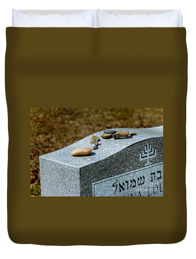 Cemetery Duvet Cover featuring the photograph Visitation Stones On Jewish Grave by Amy Cicconi