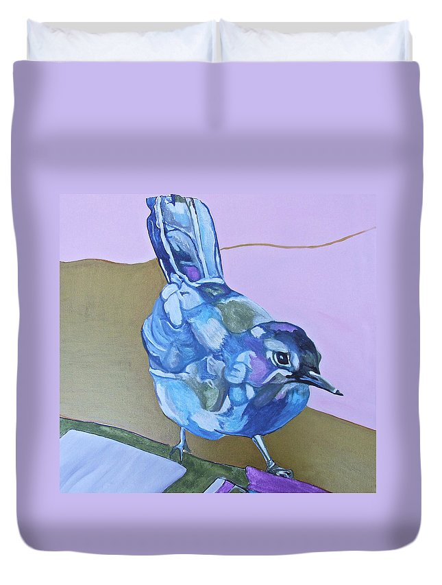 Birds Duvet Cover featuring the painting Visiting Wren by Jamie Downs