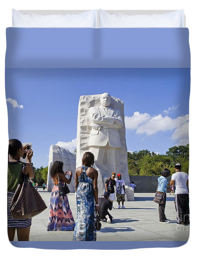 Martin Duvet Cover featuring the photograph Visitors At The Martin Luther King Jr Memorial by B Christopher