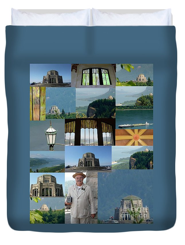 Color Photographs Collage Vista House At Crown Point Duvet Cover featuring the photograph Vista House Collage by Susan Garren