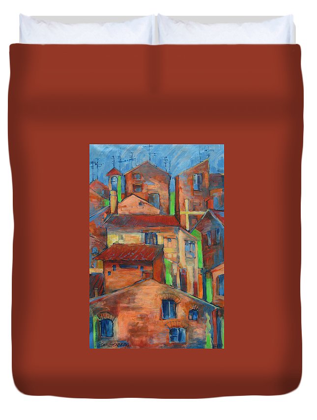Italy Duvet Cover featuring the painting Vitorchiano Astrato by Jeff Seaberg