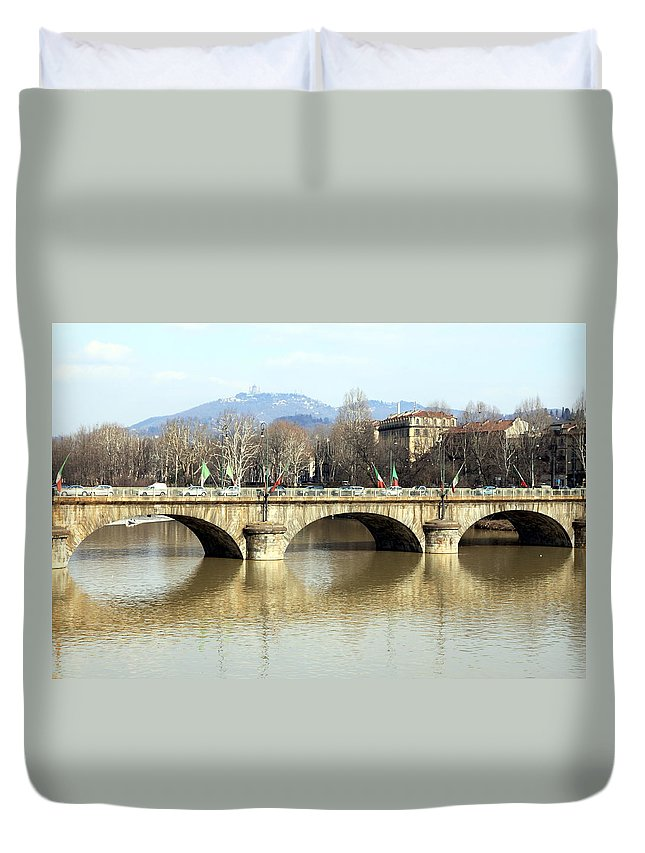 Landmark Duvet Cover featuring the photograph Vittorio Emanuele I Bridge by Valentino Visentini