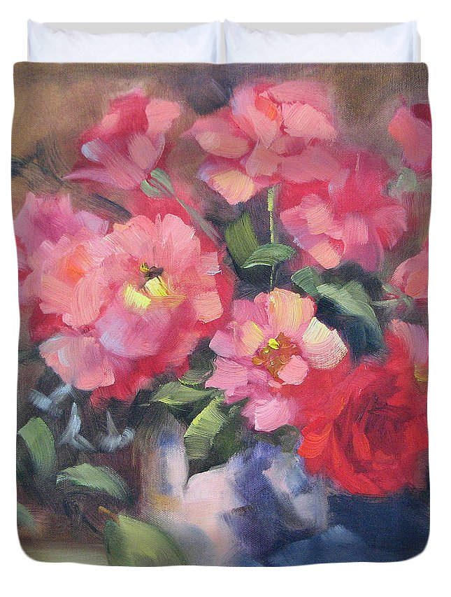 Roses Duvet Cover featuring the painting Vivacious Roses by Karin Leonard