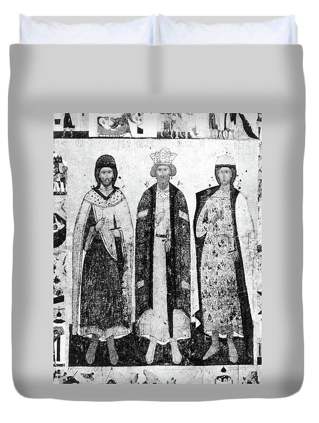 10th Century Duvet Cover featuring the painting Vladimir I (956?-1015) by Granger