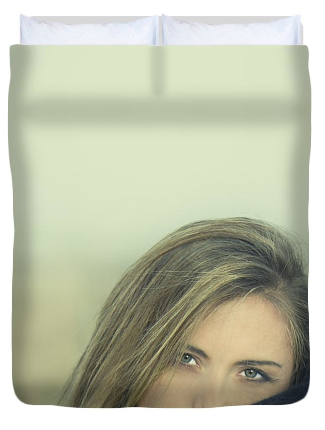 Alone Duvet Cover featuring the photograph Voice Of My Silence by Evelina Kremsdorf