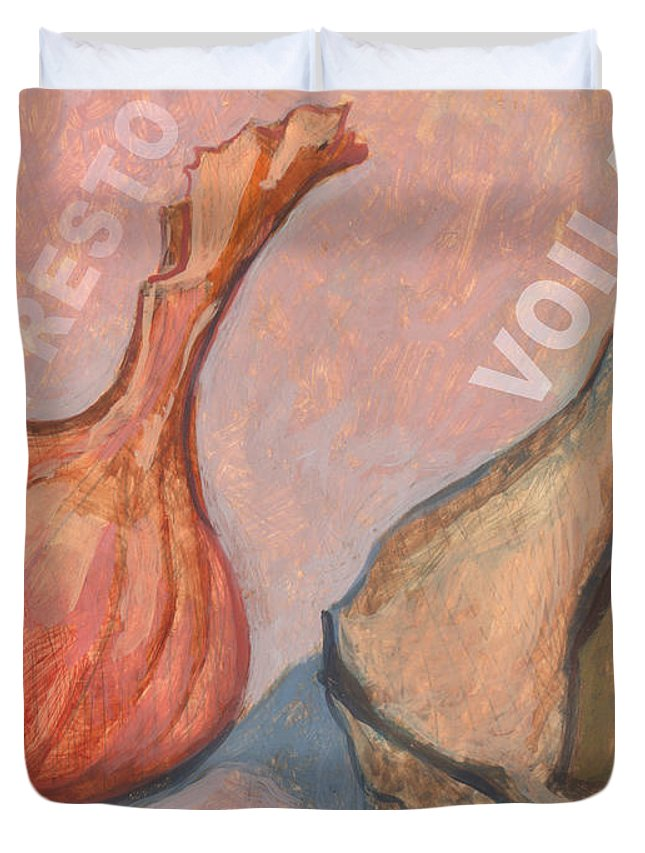 Red Duvet Cover featuring the painting Voila by Richard Glen Smith