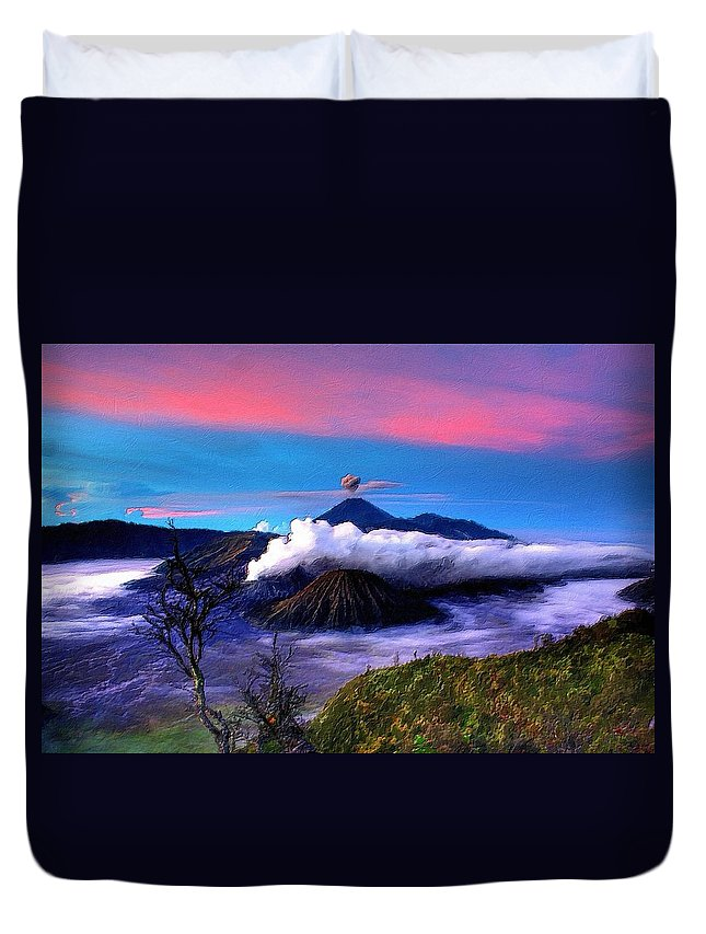 Volcano Duvet Cover featuring the painting Volcano In The Clouds by Florian Rodarte