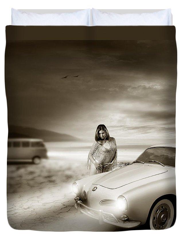 Volkswagen Duvet Cover featuring the digital art Volkswagen Karmann Ghia by Linton Hart
