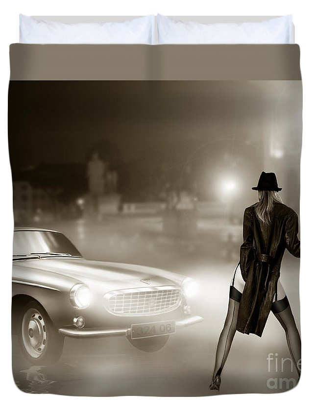Volvo P1800 Duvet Cover featuring the digital art Volvo P1800 And Hot Detective by Linton Hart
