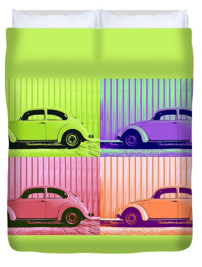 Pop Art Quad Duvet Cover featuring the photograph Vw Pop Spring by Laura Fasulo