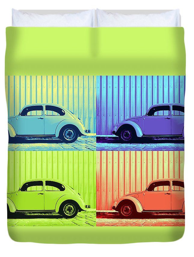 Auto Pop Art Duvet Cover featuring the photograph Vw Pop Summer by Laura Fasulo