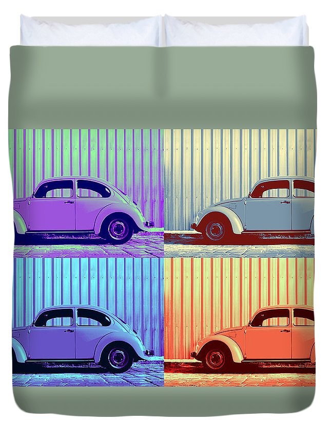 Pop Art Quad Duvet Cover featuring the photograph Vw Pop Winter by Laura Fasulo