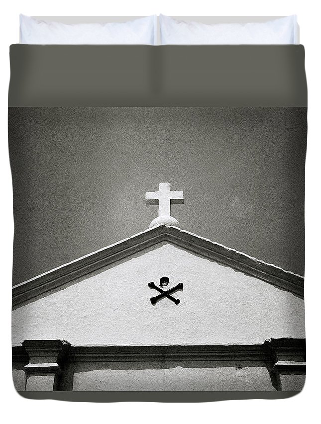 Christianity Duvet Cover featuring the photograph Skull And Crossbones by Shaun Higson