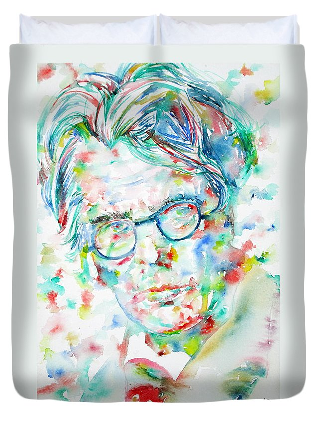 William Butler Yeats Duvet Cover featuring the painting W. B. Yeats - Watercolor Portrait by Fabrizio Cassetta