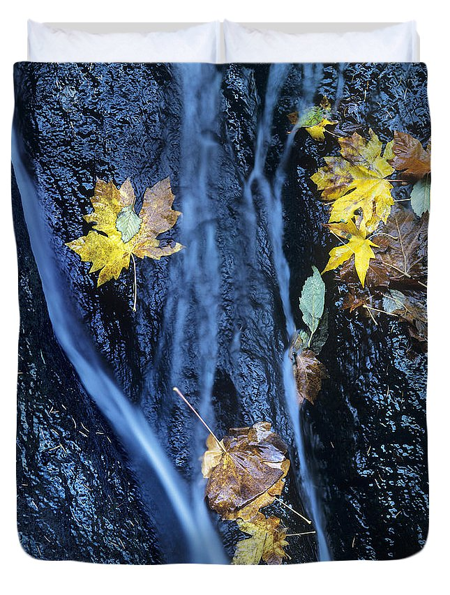 North America Duvet Cover featuring the photograph Wachlella Falls Detail Columbia River Gorge by Dave Welling