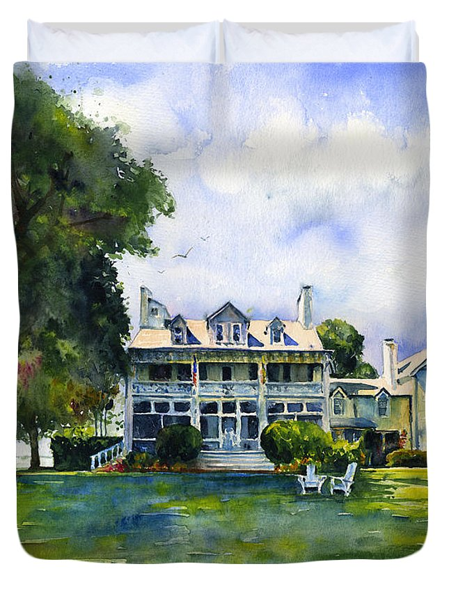 Inn Duvet Cover featuring the painting Wades Point Inn by John D Benson