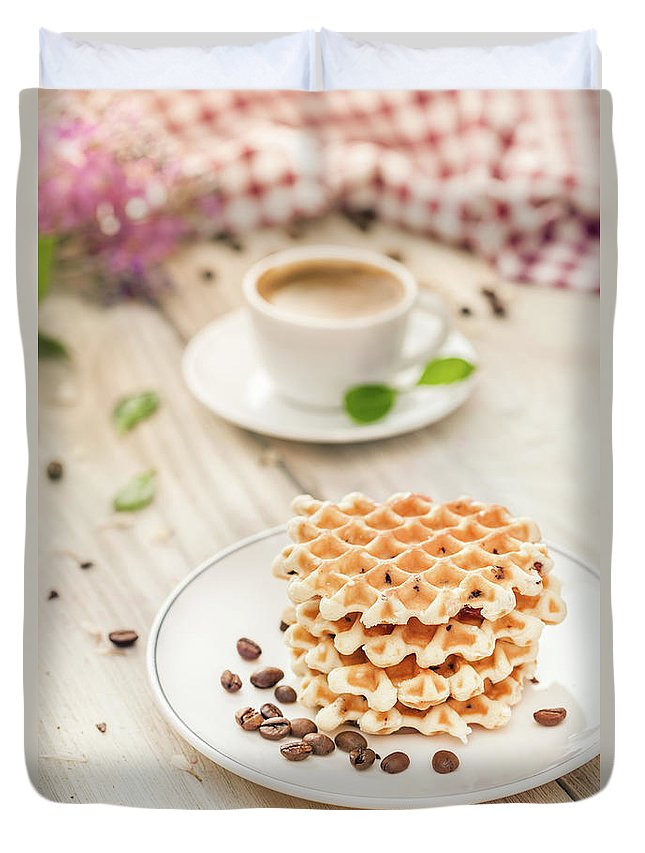 Breakfast Duvet Cover featuring the photograph Waffles With Coffee by Da-kuk