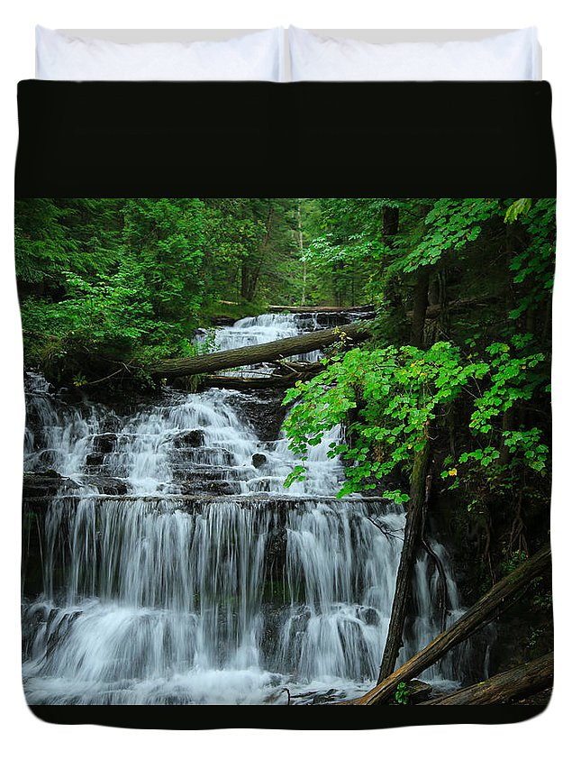 Wagner Falls Duvet Cover featuring the photograph Wagner Falls by Rachel Cohen