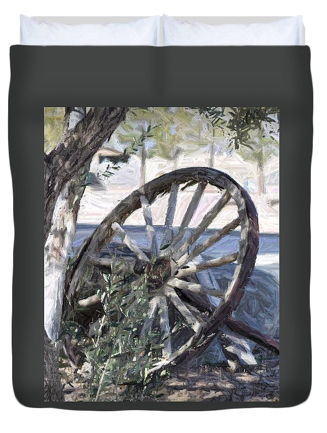 Wagon Duvet Cover featuring the photograph Wagon Wheel by Patricia Quandel