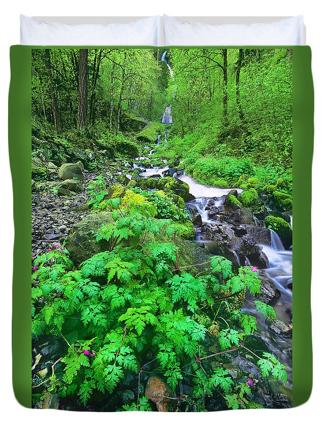 North America Duvet Cover featuring the photograph Wahkeena Falls In The Columbia River Gorge by Dave Welling