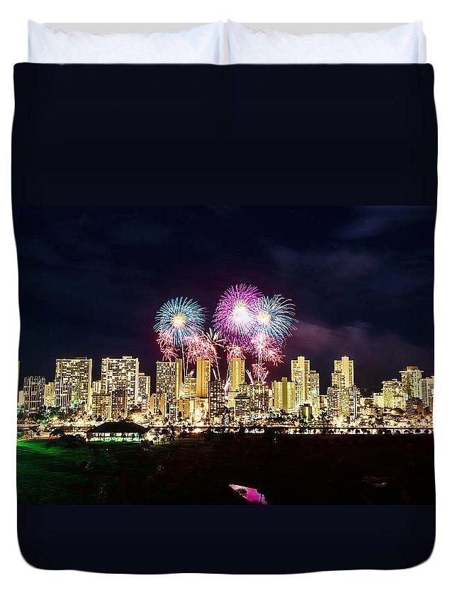 Fireworks Duvet Cover featuring the photograph Waikiki Fireworks Celebration 2 by Jason Chu