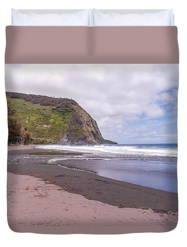 Beach Duvet Cover featuring the photograph Waipio River Empties Into The Pacific Ocean by Jim Thompson