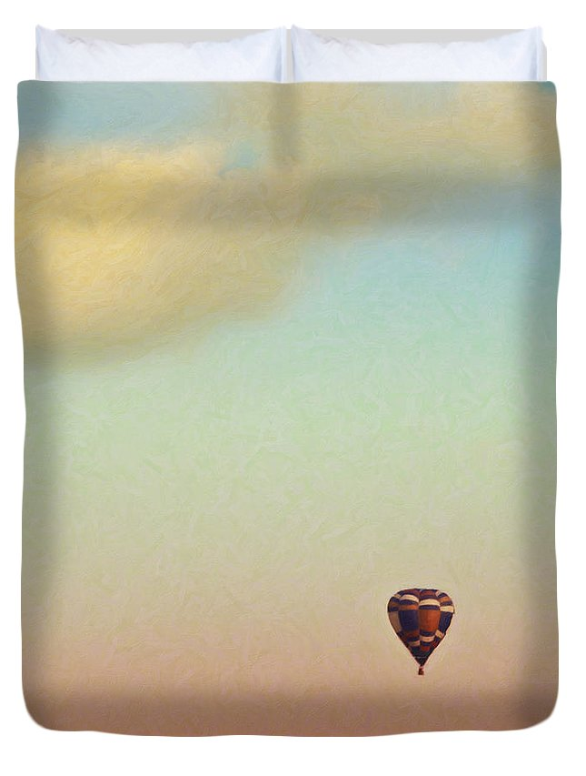 Hot Air Balloon Duvet Cover featuring the mixed media Waiting At Walmart by Trish Tritz