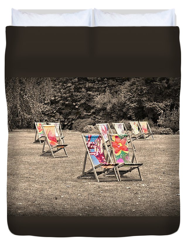 Deck Chair Duvet Cover featuring the photograph Waiting For A Body by Maj Seda