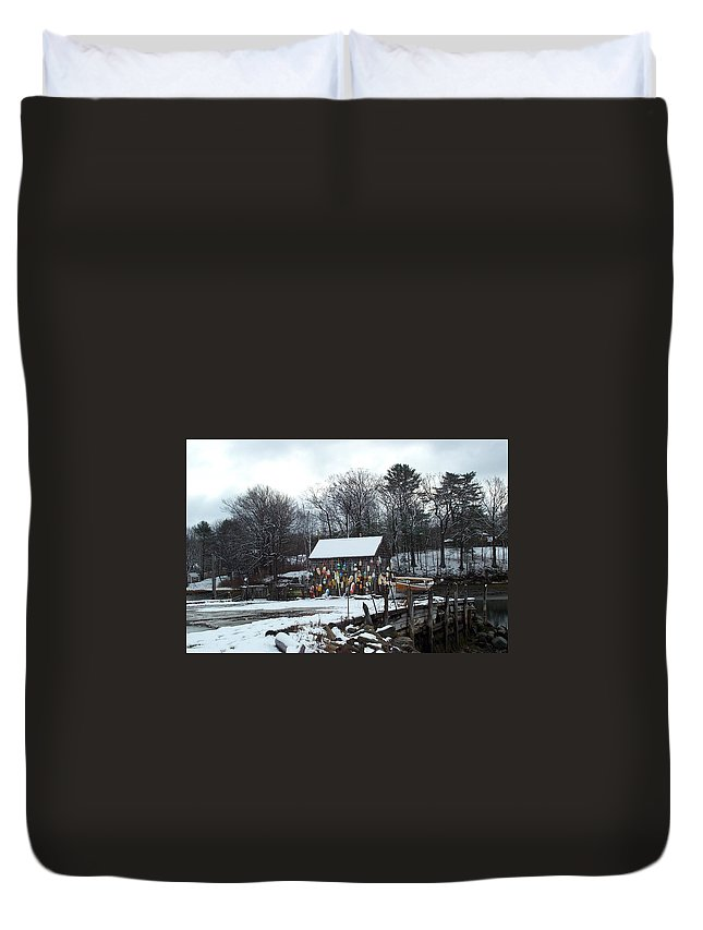 john Hancock Shack Duvet Cover featuring the photograph Waiting For Lobster by Barbara McDevitt