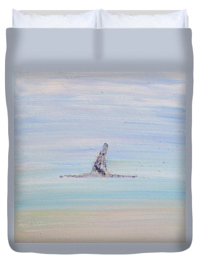 Man Duvet Cover featuring the painting Waiting For My Wave by Fabrizio Cassetta