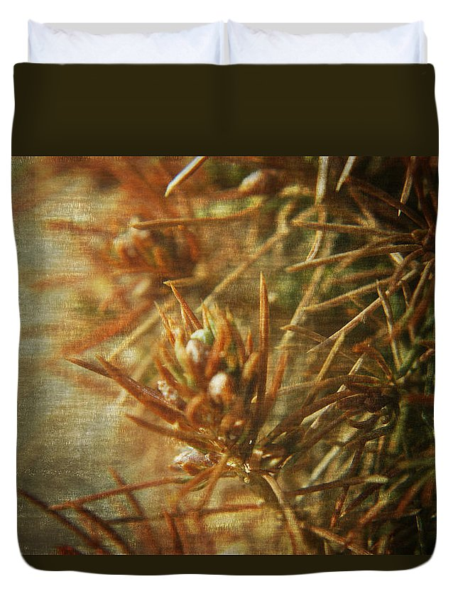 Macro Duvet Cover featuring the photograph Waiting For Spring 2 by Rhonda Barrett