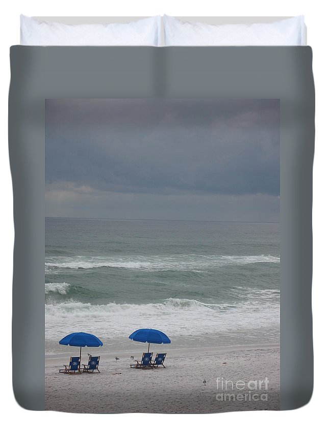Sun Chairs Duvet Cover featuring the photograph Waiting For Sunshine by Christiane Schulze Art And Photography
