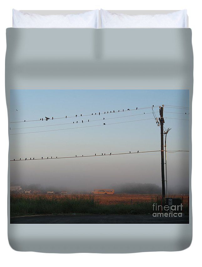 Schoolbus Duvet Cover featuring the photograph Waiting For The Schoolbus by Barry Bohn