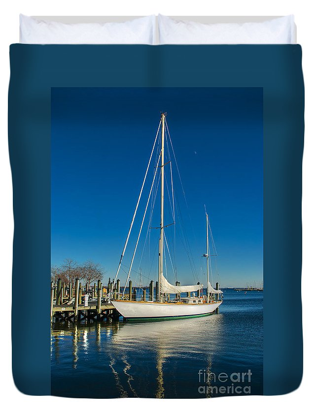 Annapolis Duvet Cover featuring the photograph Waiting For Warmer Weather At The Dock by Mark Dodd