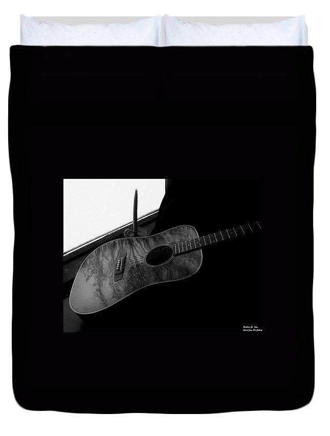 Guitar Duvet Cover featuring the photograph Waiting In The Window by Barbara St Jean