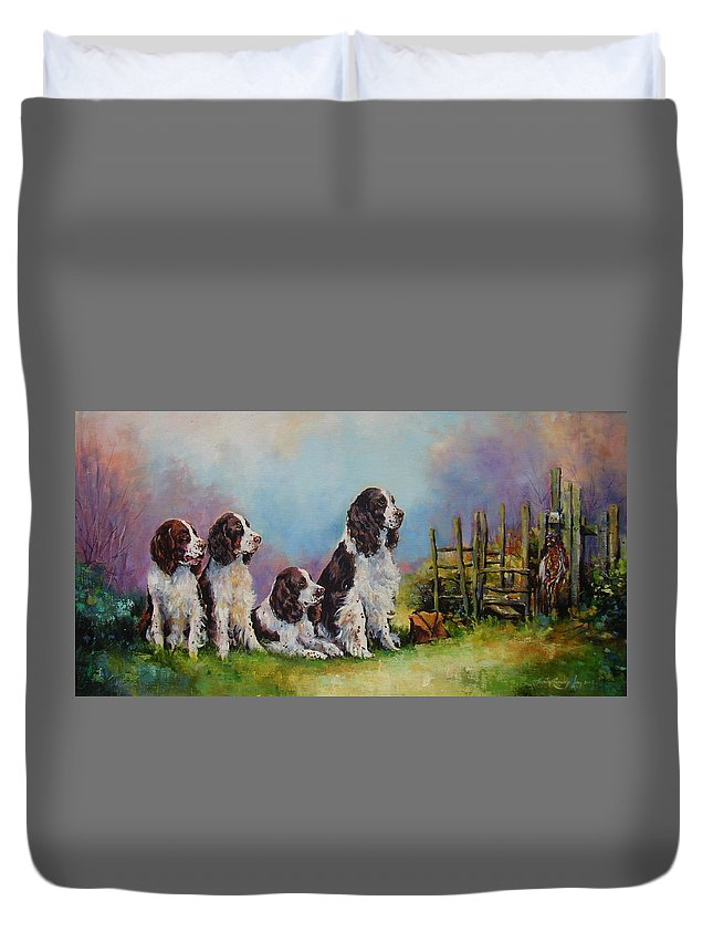 Springer Spaniels Duvet Cover featuring the painting Waiting In The Wings by Jacinta Crowley-Long
