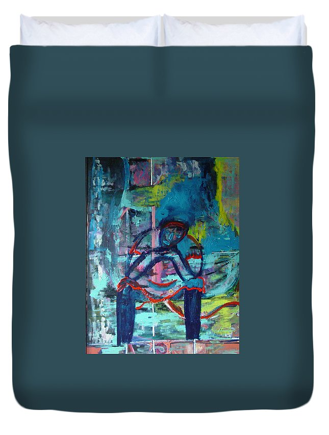 Woman On Bench Duvet Cover featuring the painting Waiting by Peggy Blood