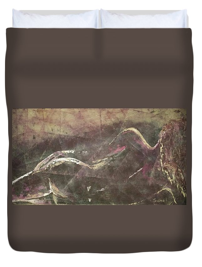 Nude Lady Duvet Cover featuring the painting Waiting by Sunel De Lange