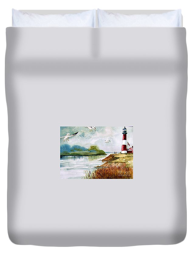Water Duvet Cover featuring the painting Walk Along The Shore by Marilyn Smith