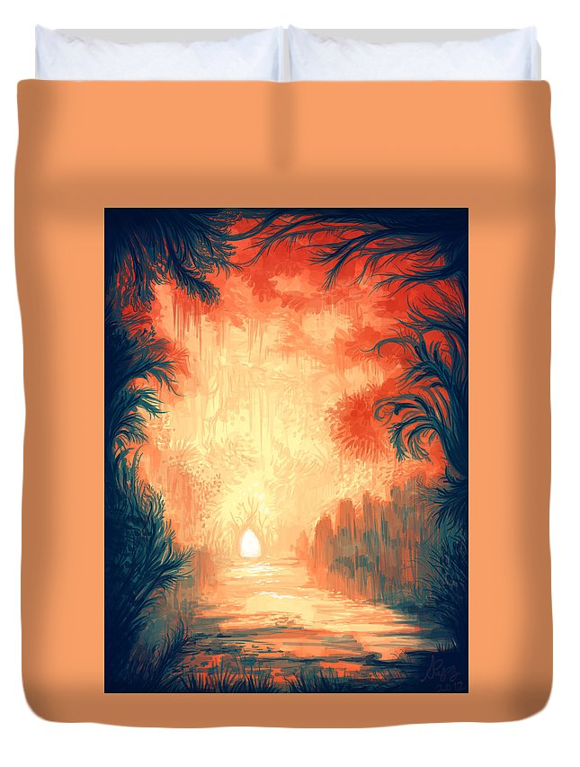 Outdoors Duvet Cover featuring the digital art Walk Away by Illustrations By Annemarie Rysz