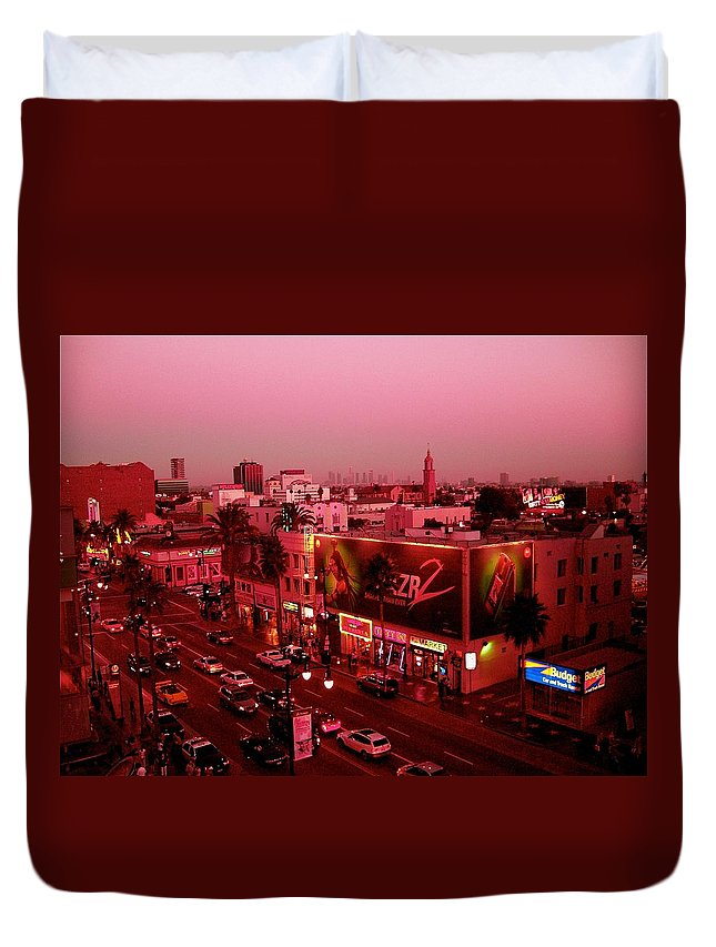 Hollywood Prints Duvet Cover featuring the photograph Walk Of Fame In Pink by Monique's Fine Art