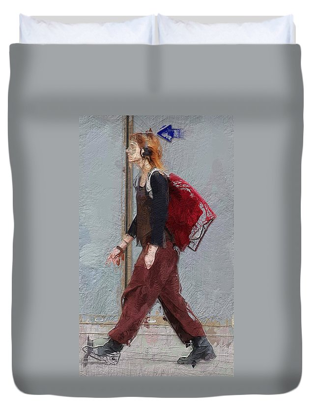 Girl Walk Walking Way Portrait Expressionism Young Duvet Cover featuring the painting Walk This Way by Steve K