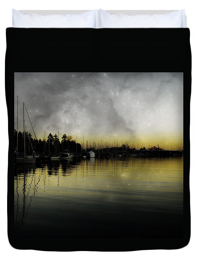 Landscapes Duvet Cover featuring the photograph Walk With Stanley by The Artist Project